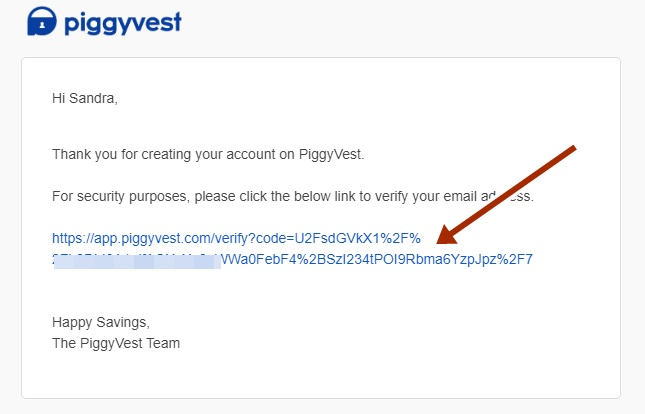 Piggyvest email confirmation
