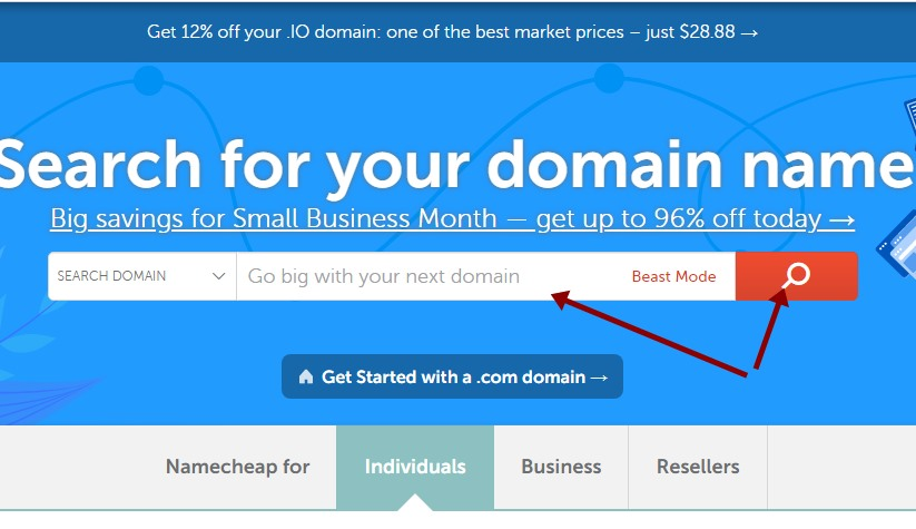 Namecheap domain search bar